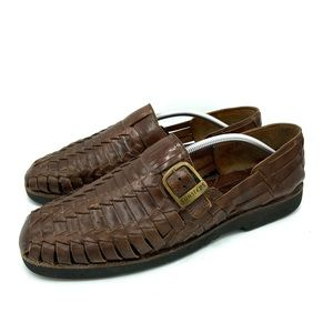 SUNSTEPS Hand Woven Brown Leather Fisherman Sandal
